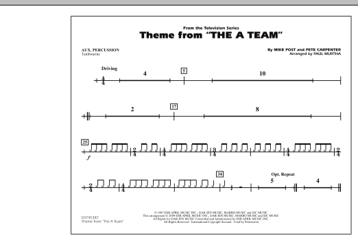 Theme from The A-Team - Aux Percussion (Marching Band)