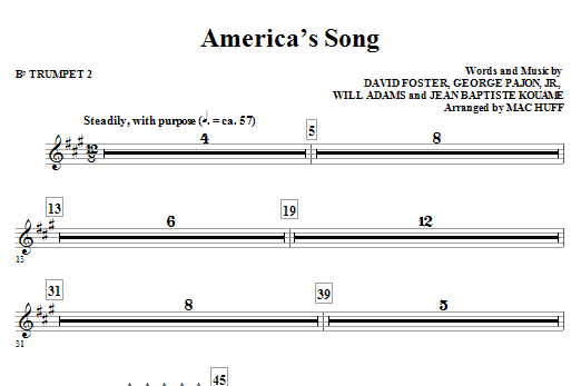 America's Song - Bb Trumpet 2 Sheet Music