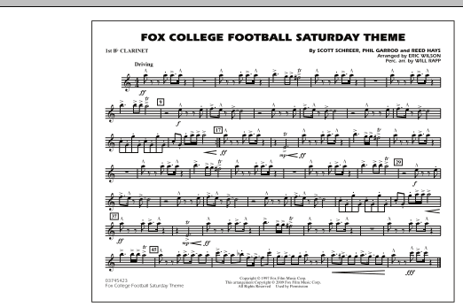 Fox College Football Saturday Theme - Bb Clarinet 1 (Marching Band)