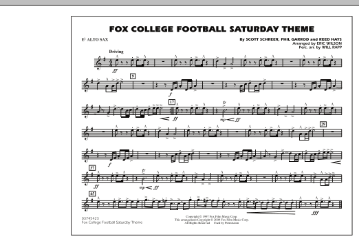 Fox College Football Saturday Theme - Eb Alto Sax (Marching Band)