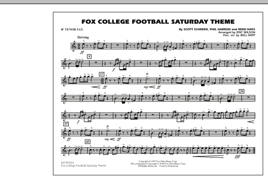 Fox College Football Saturday Theme - Bb Tenor Sax (Marching Band)