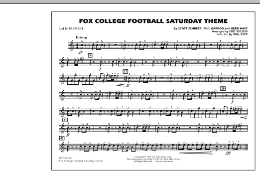 Fox College Football Saturday Theme - 2nd Bb Trumpet (Marching Band)