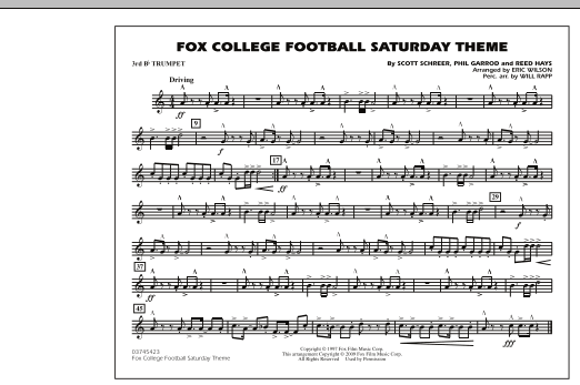 Fox College Football Saturday Theme - 3rd Bb Trumpet (Marching Band)