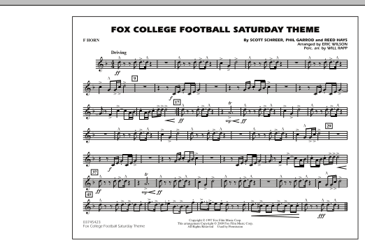 Fox College Football Saturday Theme - F Horn (Marching Band)