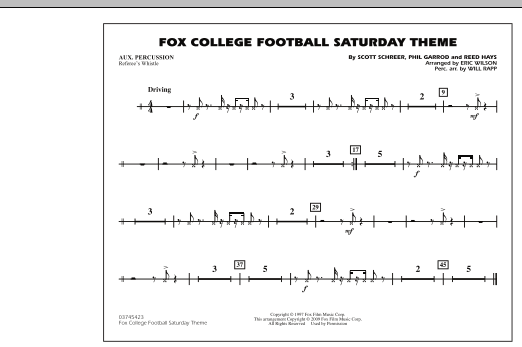 Fox College Football Saturday Theme - Aux Percussion (Marching Band)