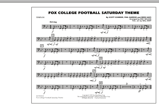 Fox College Football Saturday Theme - Timpani (Marching Band)
