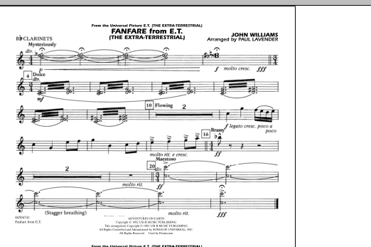 Fanfare from E.T. (The Extra-Terrestrial) - Bb Clarinet (Marching Band)