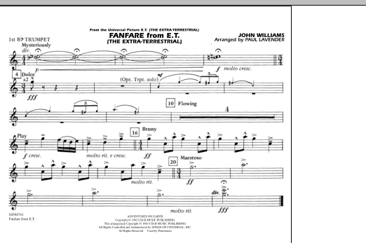 Fanfare from E.T. (The Extra-Terrestrial) - 1st Bb Trumpet (Marching Band)