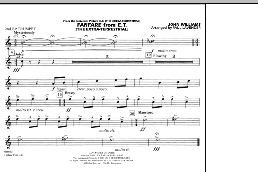 Fanfare from E.T. (The Extra-Terrestrial) - 2nd Bb Trumpet (Marching Band)