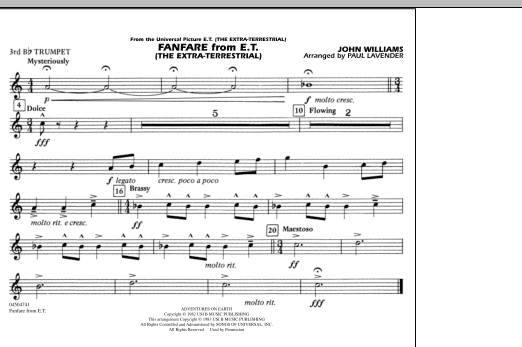 Fanfare from E.T. (The Extra-Terrestrial) - 3rd Bb Trumpet (Marching Band)
