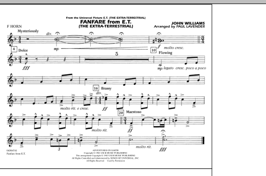 Fanfare from E.T. (The Extra-Terrestrial) - F Horn (Marching Band)