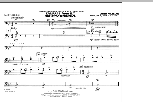 Fanfare from E.T. (The Extra-Terrestrial) - Baritone B.C. (Marching Band)