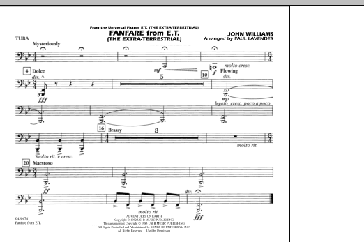 Fanfare from E.T. (The Extra-Terrestrial) - Tuba (Marching Band)