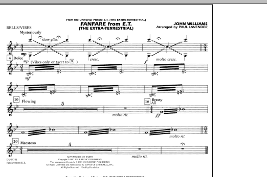 Fanfare from E.T. (The Extra-Terrestrial) - Bells/Vibes (Marching Band)