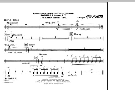 Fanfare from E.T. (The Extra-Terrestrial) - Triple Toms (Marching Band)