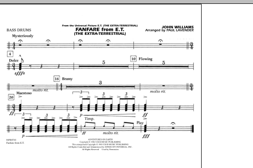 Fanfare from E.T. (The Extra-Terrestrial) - Multiple Bass Drums (Marching Band)