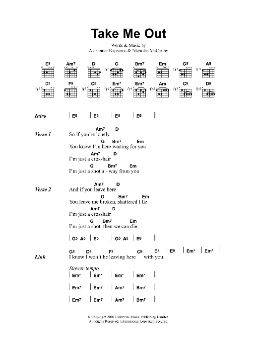 Take Me Out by Franz Ferdinand - Guitar Chords/Lyrics - Guitar ...