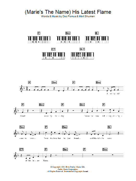 His Latest Flame (Piano Chords/Lyrics)