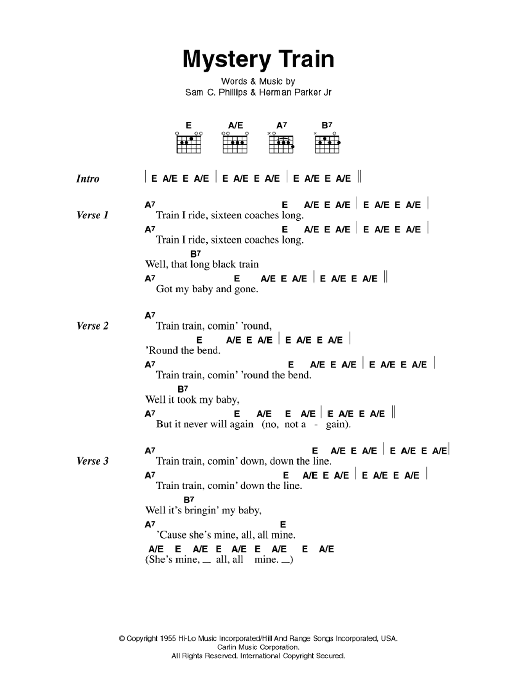 Mystery Train by Elvis Presley - Guitar Chords/Lyrics - Guitar ...
