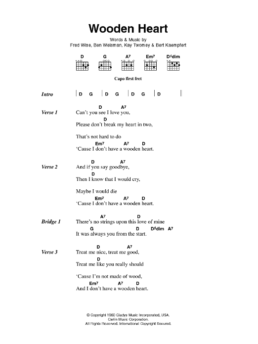 Wooden Heart Sheet Music Elvis Presley Lyrics Chords