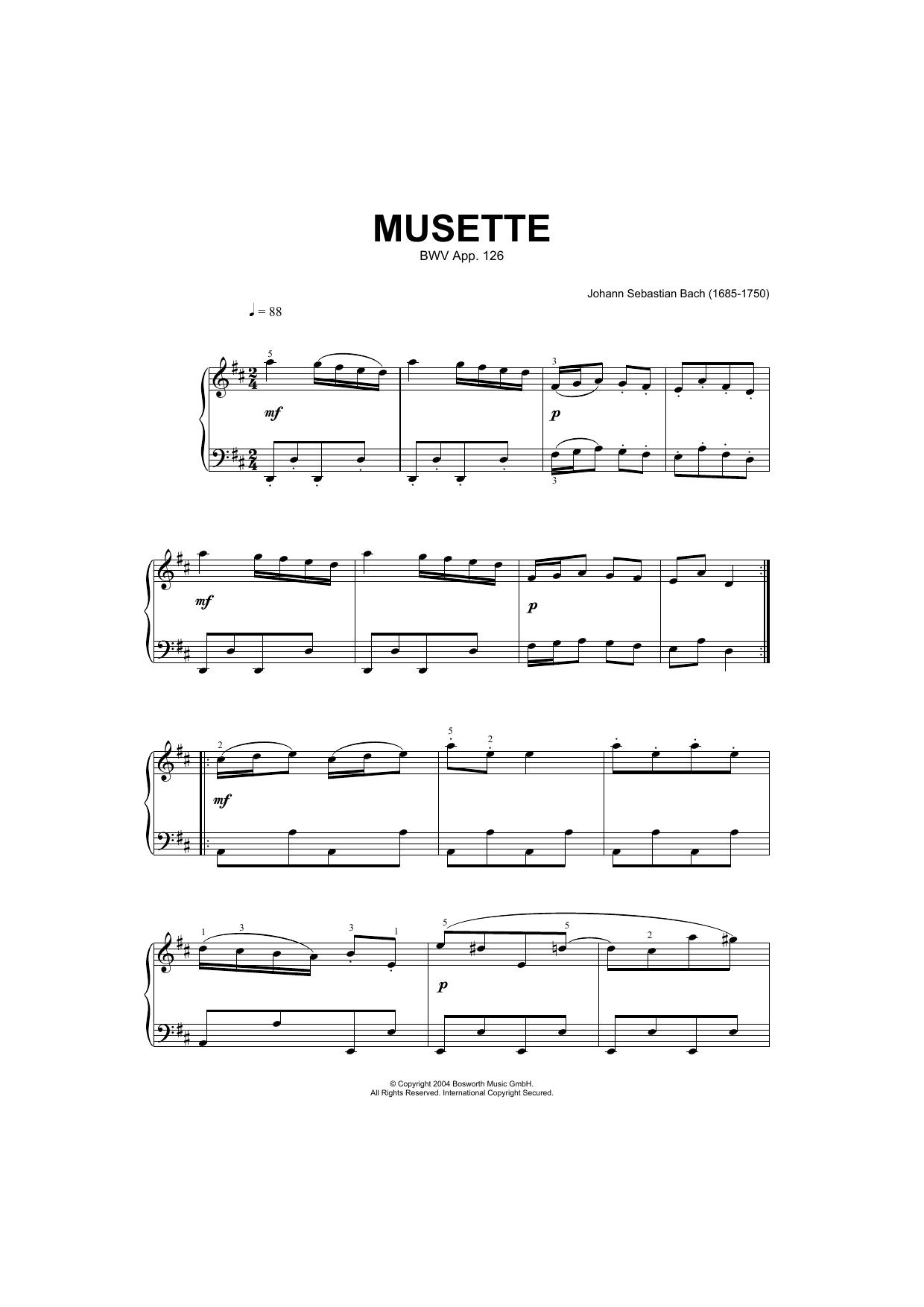 Musette In D Major, BWV App. 126 (Piano Solo)