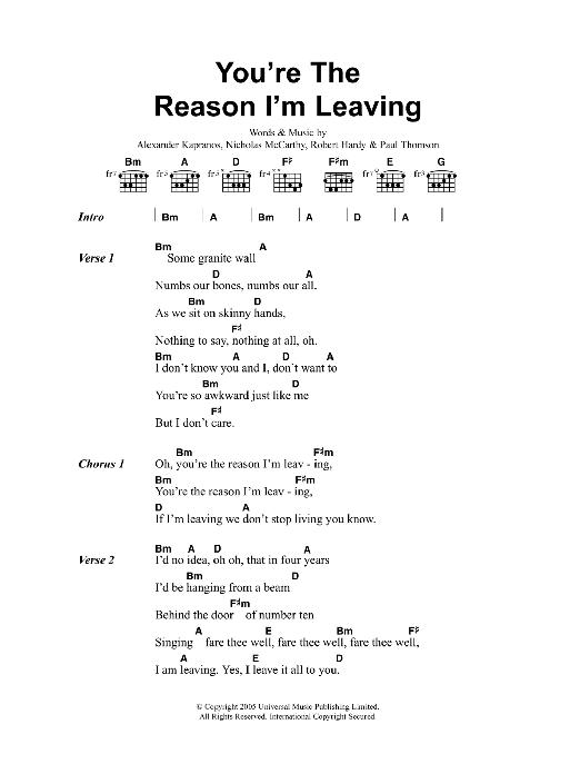 You\'re The Reason I\'m Leaving | Franz Ferdinand | Lyrics & Chords