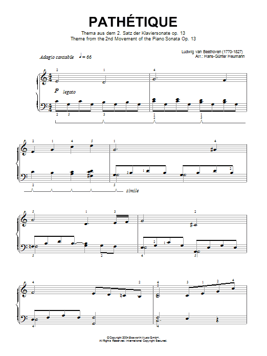 Adagio Cantabile from Sonate Pathetique Op.13, Theme from the 2nd Movement Sheet Music