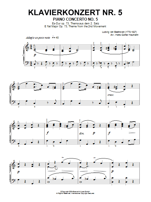 Piano Concerto No.5 (Emperor), Eb Major, Op.73, Theme from the Second Movement (Piano Solo)