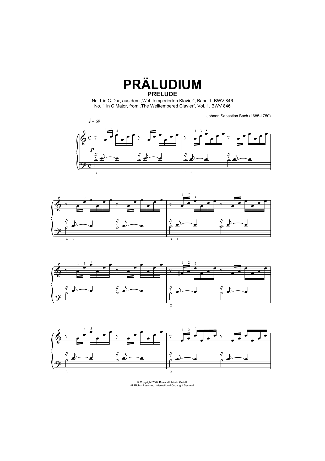 Prelude No.1 in C Major (from The Well-Tempered Clavier, Bk.1) (Piano Solo)