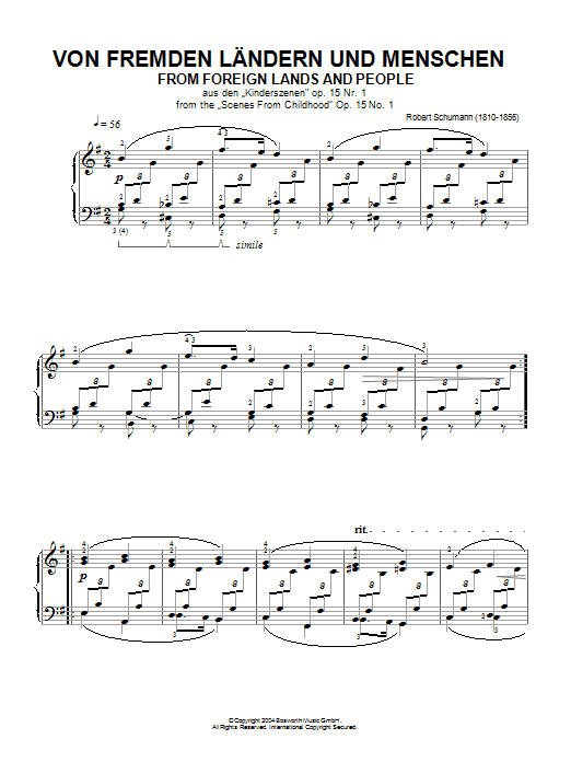 From Foreign Lands And People (Piano Solo)