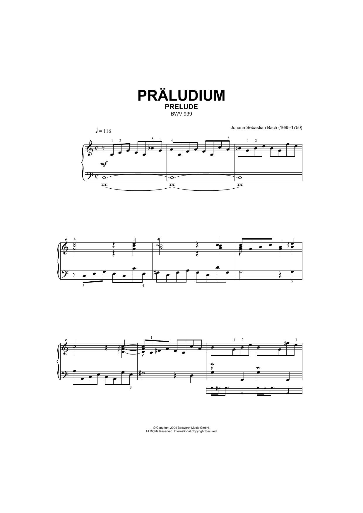 Prelude, BWV 939 Sheet Music