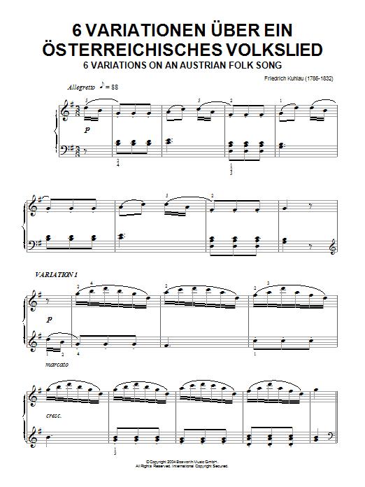 Six Variations On An Austrian Folk Song Sheet Music