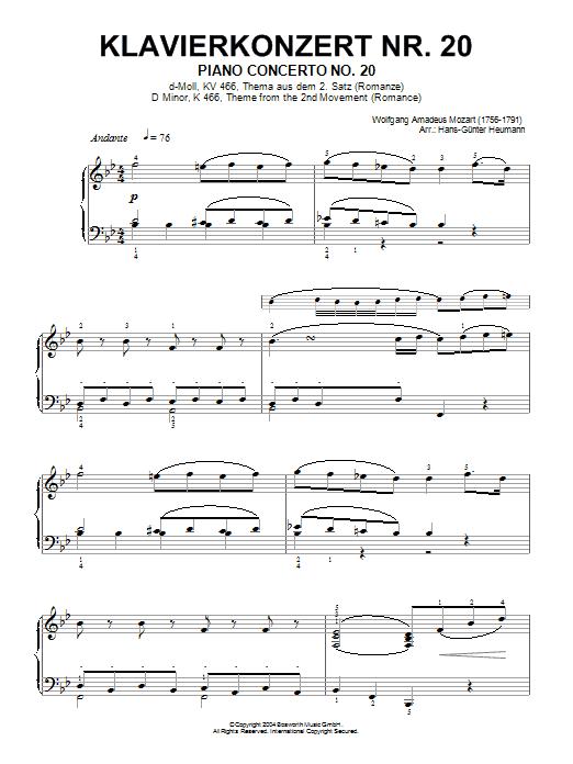 Piano Concerto No.20, theme from the Second Movement (Romance) (Piano Solo)