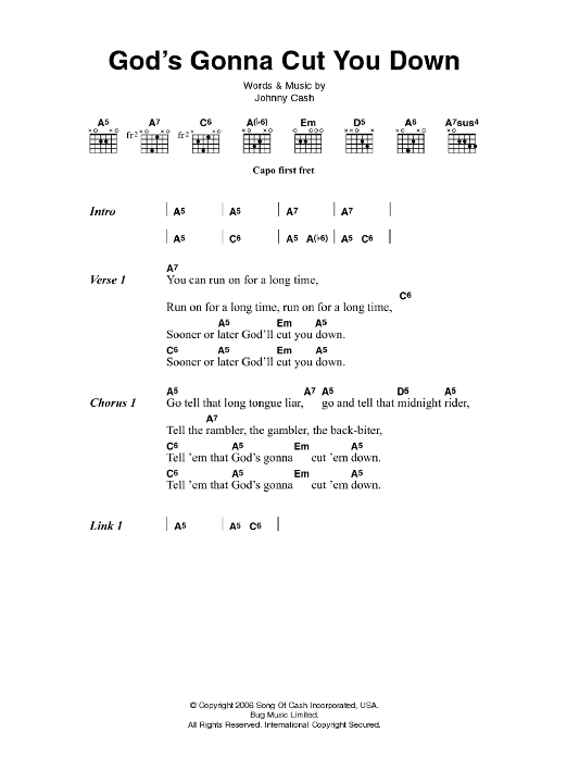 God\'s Gonna Cut You Down by Johnny Cash - Guitar Chords/Lyrics ...