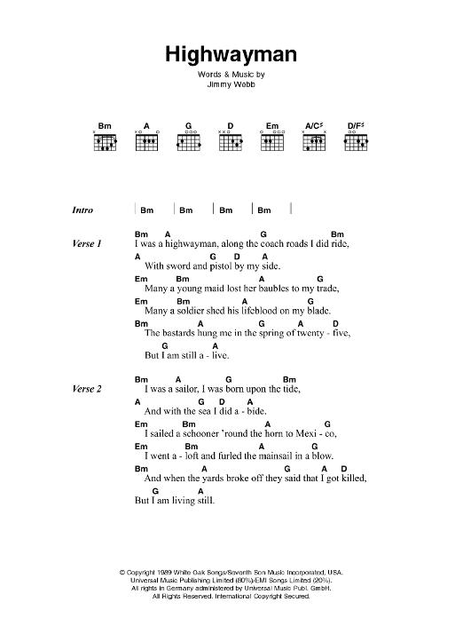 The Highwayman Sheet Music Direct