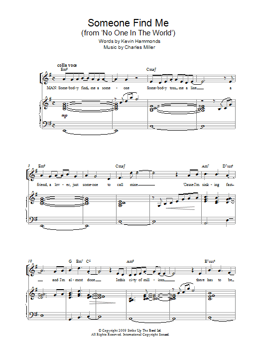 Someone Find Me (from No One In The World) Sheet Music