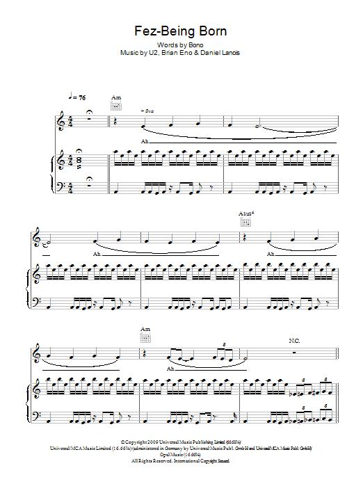 Fez-Being Born Sheet Music