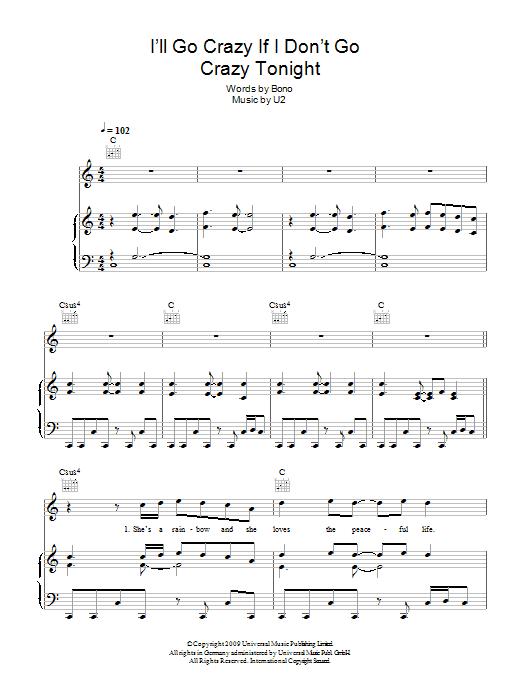 I'll Go Crazy If I Don't Go Crazy Tonight (Piano, Vocal & Guitar)
