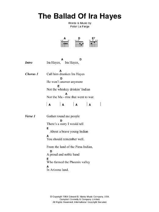 The Ballad Of Ira Hayes Sheet Music