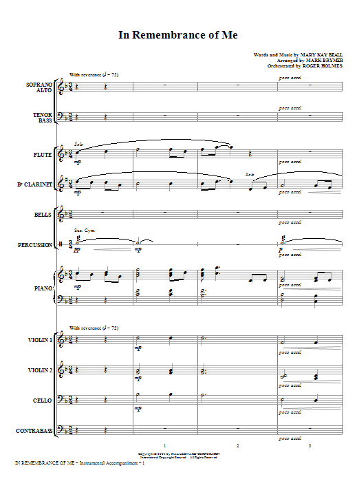 In Remembrance Of Me (COMPLETE) sheet music for orchestra/band (chamber ensemble) by Mark Brymer and Mary Kay Beall. Score Image Preview.
