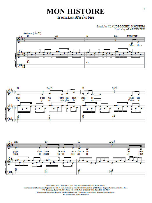 Mon Histoire (Piano & Vocal)