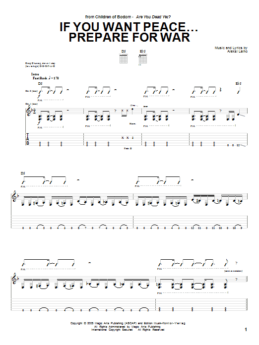 If You Want Peace... Prepare For War (Guitar Tab)