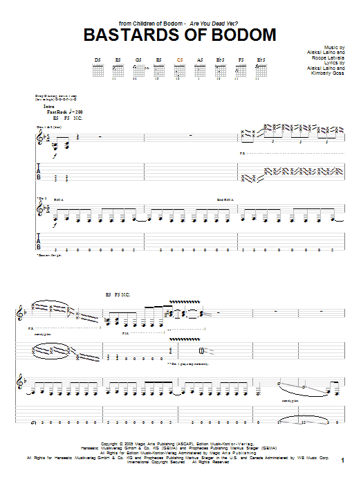 Bastards Of Bodom Sheet Music
