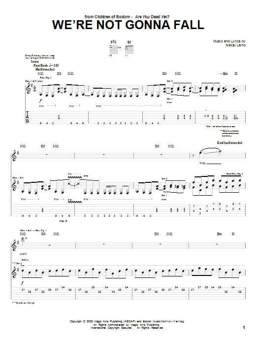 Tablature guitare We're Not Gonna Fall de Children Of Bodom - Tablature Guitare