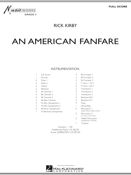 An American Fanfare (COMPLETE) sheet music for concert band by Rick Kirby. Score Image Preview.
