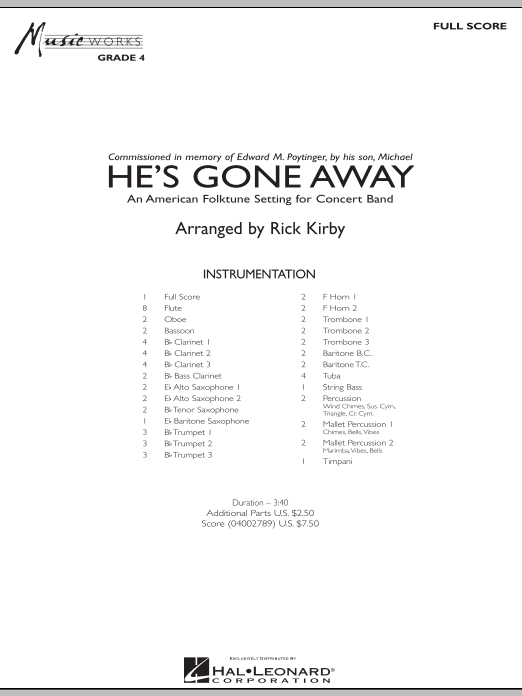 He's Gone Away (An American Folktune Setting for Concert Band) (COMPLETE) sheet music for concert band by Rick Kirby. Score Image Preview.