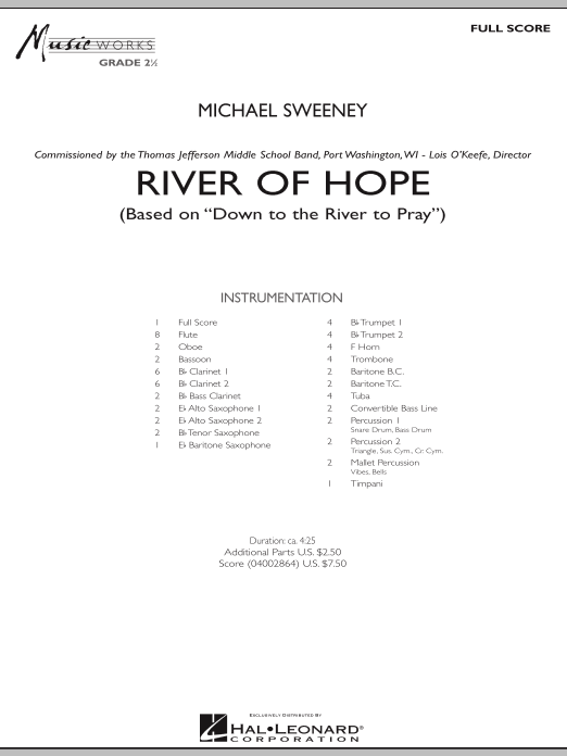River of Hope (COMPLETE) sheet music for concert band by Michael Sweeney. Score Image Preview.
