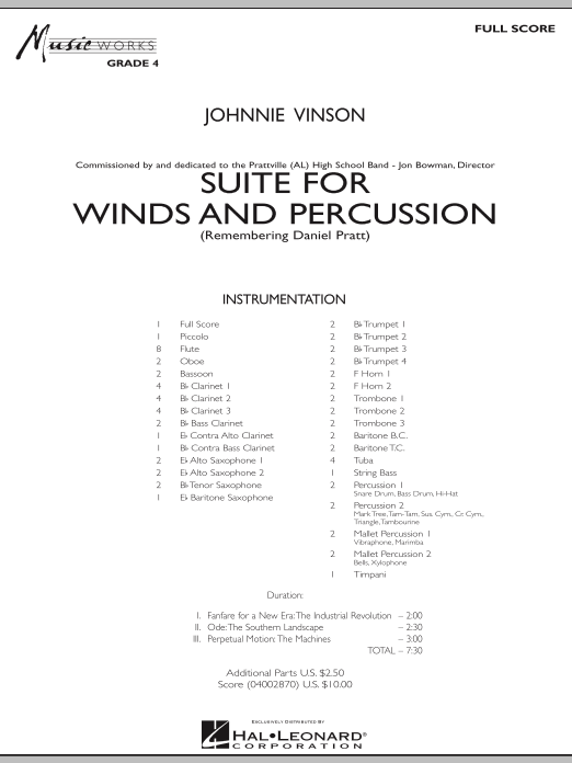 Suite for Winds and Percussion (COMPLETE) sheet music for concert band by Johnnie Vinson. Score Image Preview.