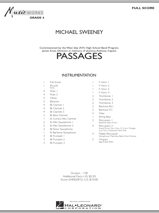 Passages (COMPLETE) sheet music for concert band by Michael Sweeney. Score Image Preview.