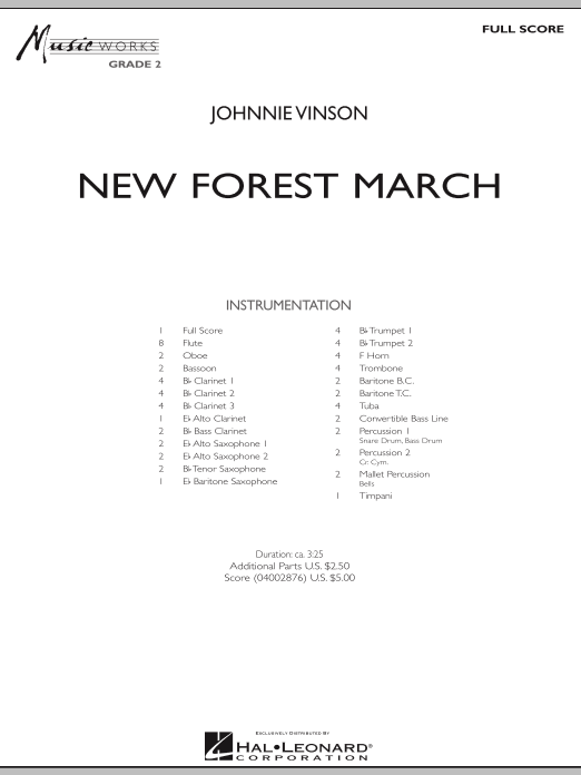 New Forest March (COMPLETE) sheet music for concert band by Johnnie Vinson. Score Image Preview.